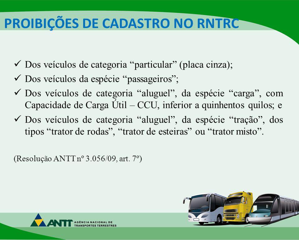 PROIBIÇÕES DE CADASTRO NO RNTRC