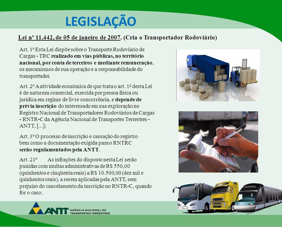 LEGISLAÇÃO Lei nº 11.442, de 05 de janeiro de 2007. (Cria o Transportador Rodoviário)