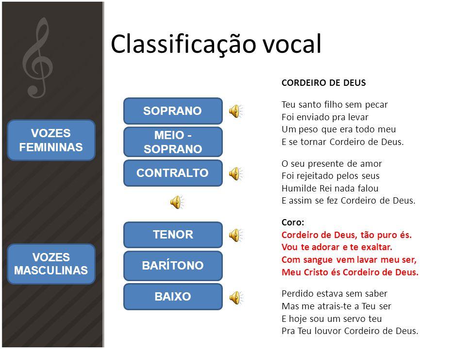 Classificação vocal SOPRANO VOZES FEMININAS MEIO - SOPRANO CONTRALTO