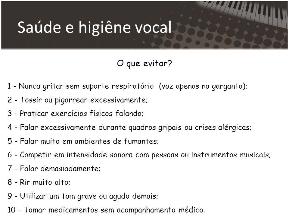 Saúde e higiêne vocal O que evitar