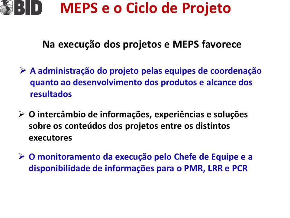 MEPS e o Ciclo de Projeto Na execução dos projetos e MEPS favorece
