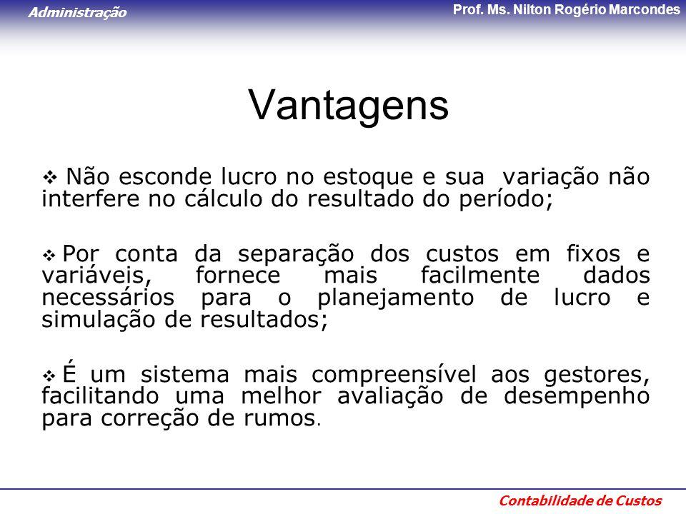 Vantagens Não esconde lucro no estoque e sua variação não interfere no cálculo do resultado do período;