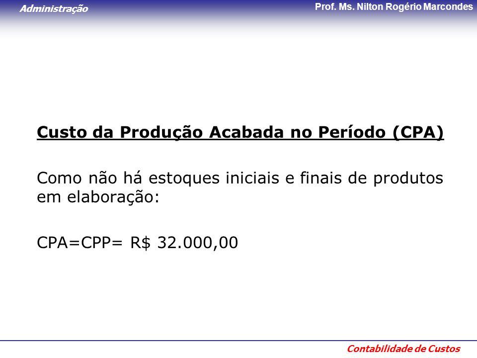 Custo da Produção Acabada no Período (CPA)