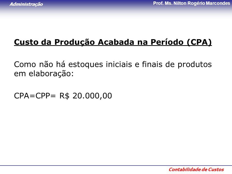 Custo da Produção Acabada na Período (CPA)