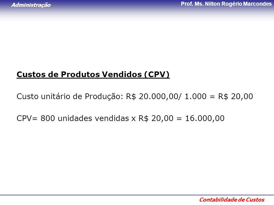 Custos de Produtos Vendidos (CPV)