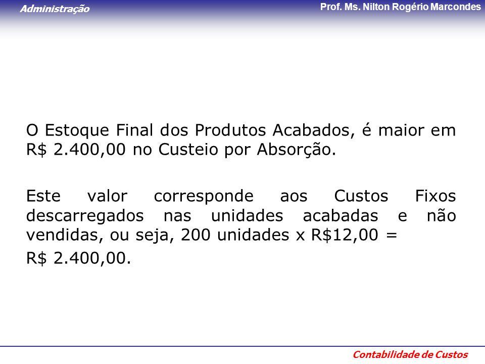 O Estoque Final dos Produtos Acabados, é maior em R$ 2
