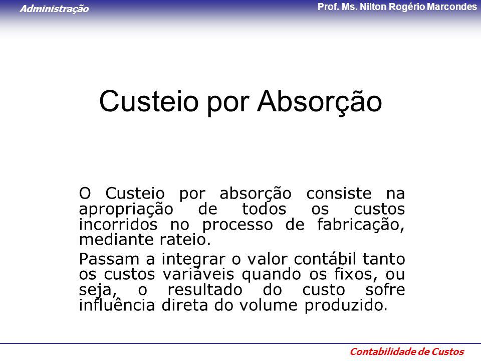 Custeio por Absorção O Custeio por absorção consiste na apropriação de todos os custos incorridos no processo de fabricação, mediante rateio.
