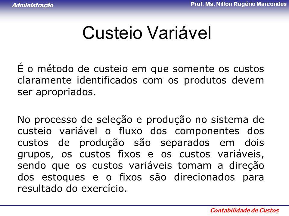 Custeio Variável É o método de custeio em que somente os custos claramente identificados com os produtos devem ser apropriados.