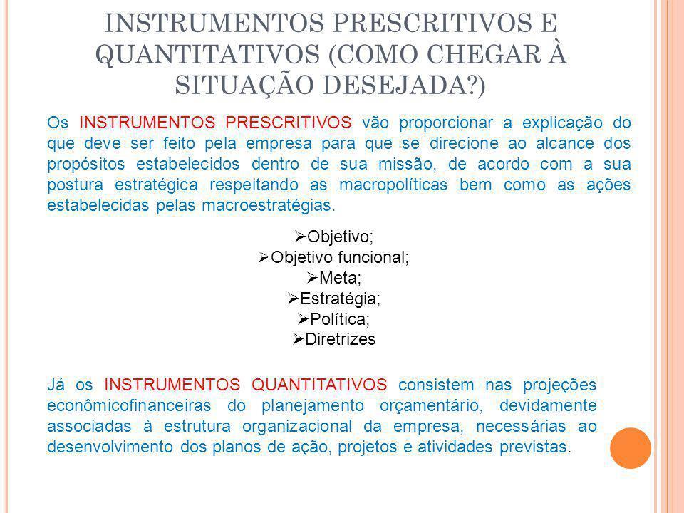 INSTRUMENTOS PRESCRITIVOS E QUANTITATIVOS (COMO CHEGAR À SITUAÇÃO DESEJADA )