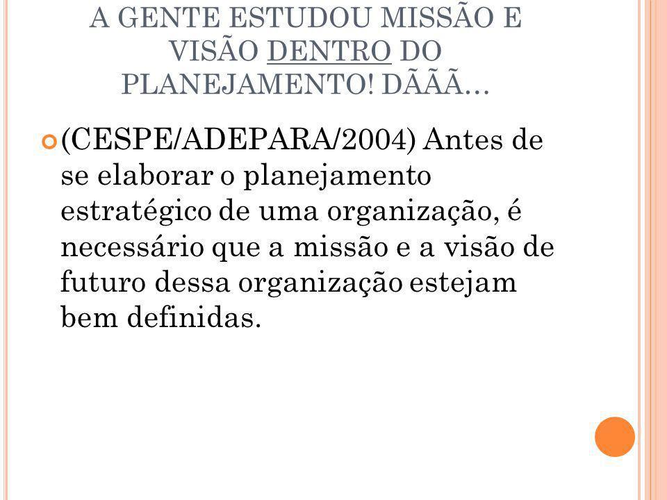 A GENTE ESTUDOU MISSÃO E VISÃO DENTRO DO PLANEJAMENTO! DÃÃÃ…