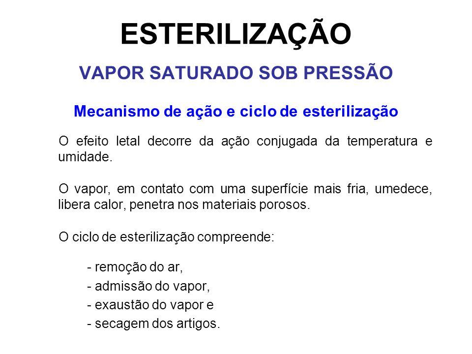 VAPOR SATURADO SOB PRESSÃO Mecanismo de ação e ciclo de esterilização
