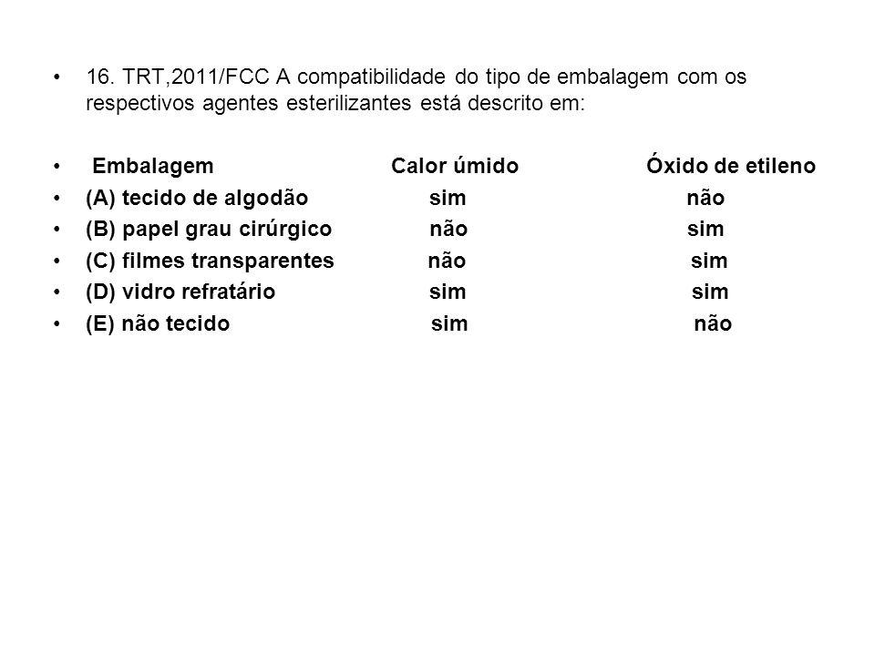 16. TRT,2011/FCC A compatibilidade do tipo de embalagem com os respectivos agentes esterilizantes está descrito em: