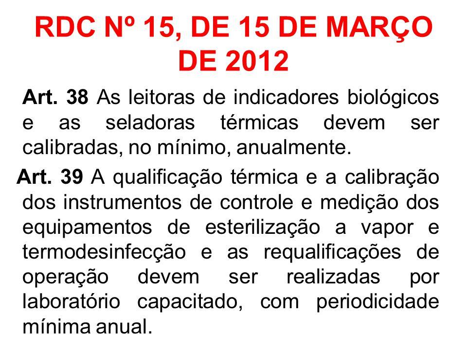 RDC Nº 15, DE 15 DE MARÇO DE 2012 Art. 38 As leitoras de indicadores biológicos e as seladoras térmicas devem ser calibradas, no mínimo, anualmente.