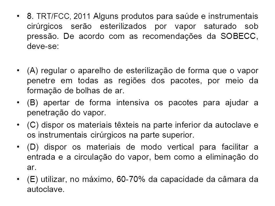8. TRT/FCC, 2011 Alguns produtos para saúde e instrumentais cirúrgicos serão esterilizados por vapor saturado sob pressão. De acordo com as recomendações da SOBECC, deve-se: