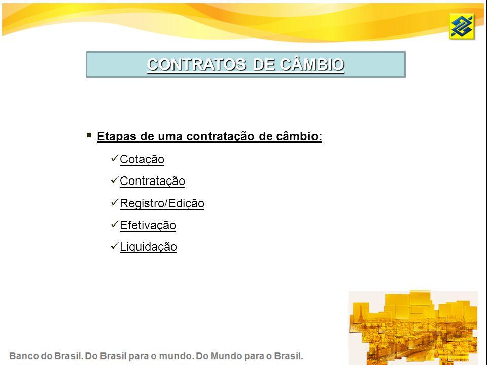 CONTRATOS DE CÂMBIO Etapas de uma contratação de câmbio: Cotação