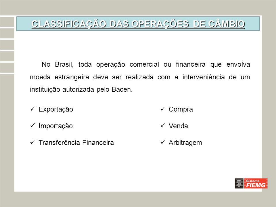 CLASSIFICAÇÃO DAS OPERAÇÕES DE CÂMBIO