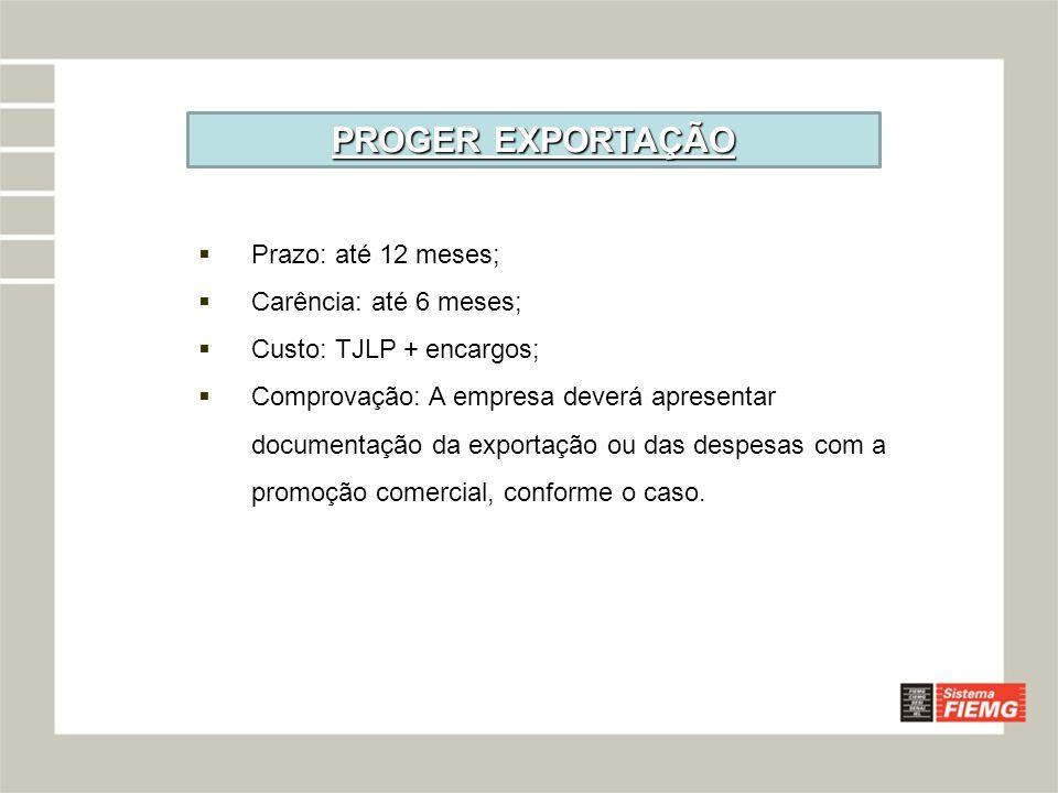 PROGER EXPORTAÇÃO Prazo: até 12 meses; Carência: até 6 meses;