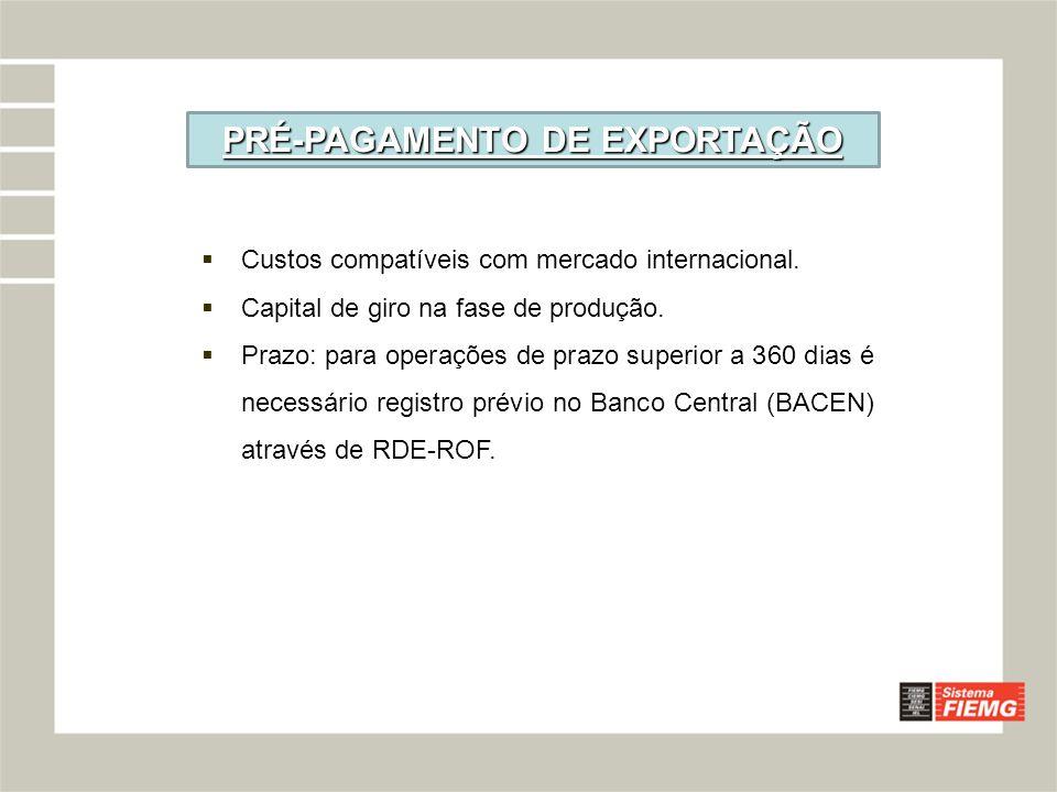 PRÉ-PAGAMENTO DE EXPORTAÇÃO