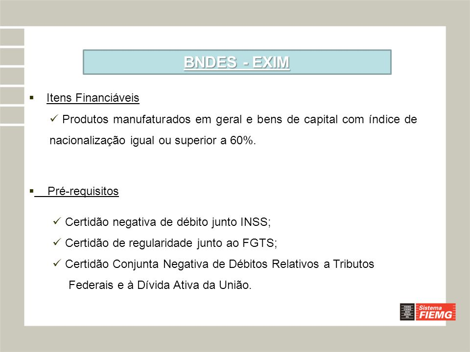 BNDES - EXIM Itens Financiáveis