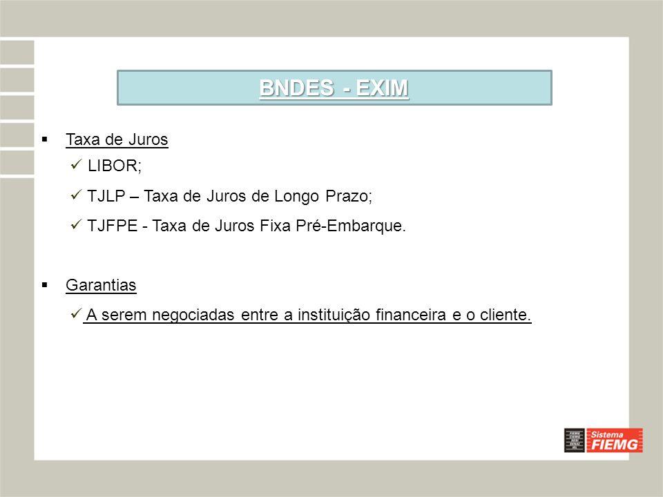 BNDES - EXIM Taxa de Juros LIBOR; TJLP – Taxa de Juros de Longo Prazo;