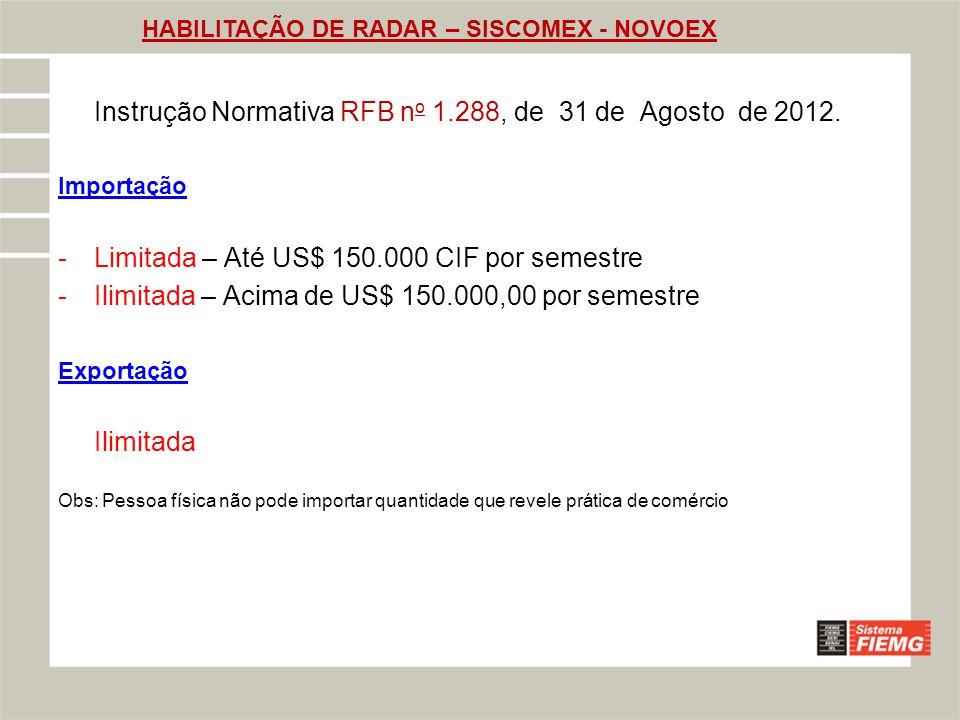 HABILITAÇÃO DE RADAR – SISCOMEX - NOVOEX