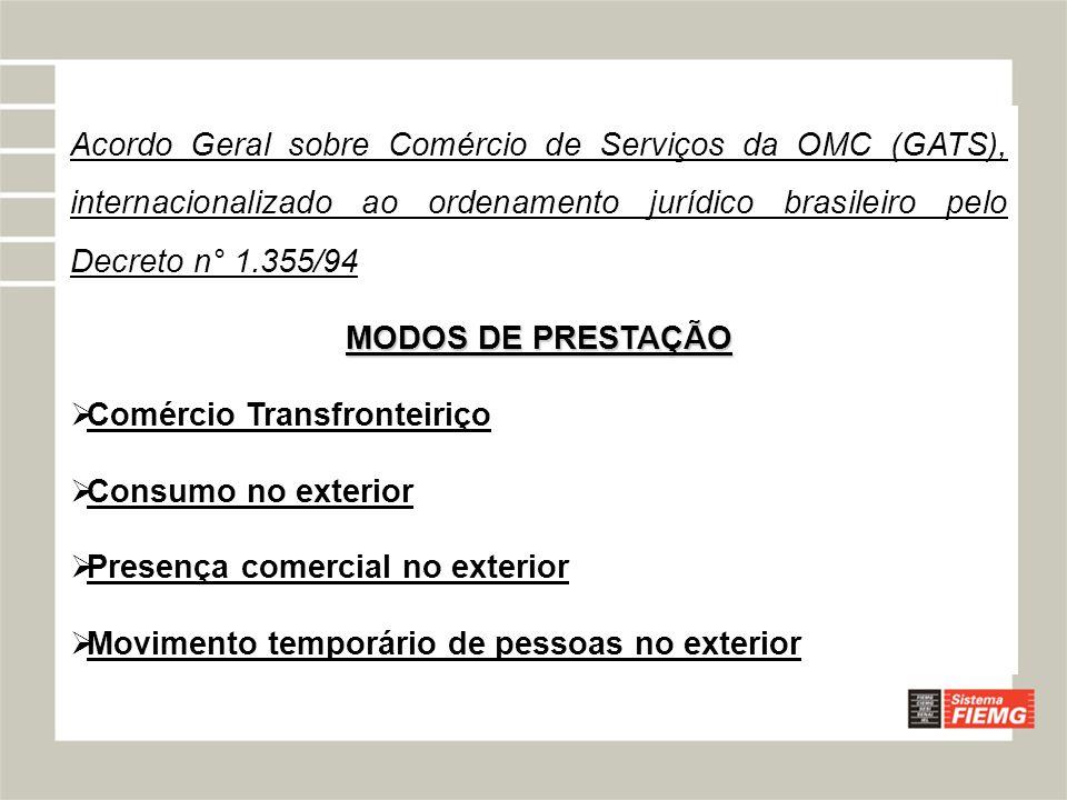 Acordo Geral sobre Comércio de Serviços da OMC (GATS), internacionalizado ao ordenamento jurídico brasileiro pelo Decreto n° 1.355/94
