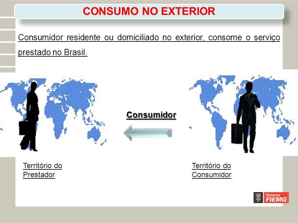 CONSUMO NO EXTERIOR Consumidor residente ou domiciliado no exterior, consome o serviço prestado no Brasil.