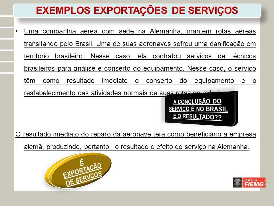 EXEMPLOS EXPORTAÇÕES DE SERVIÇOS