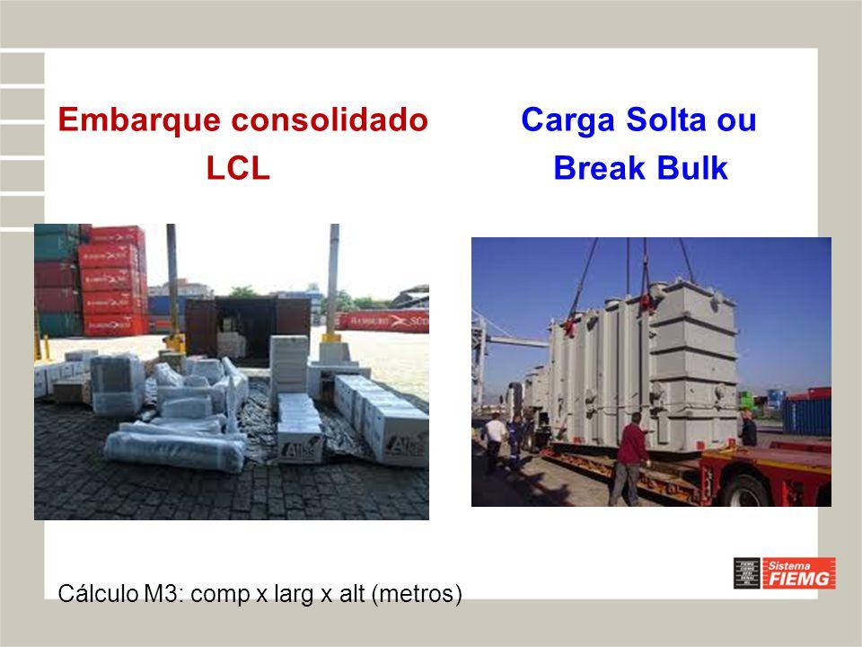 Embarque consolidado Carga Solta ou LCL Break Bulk