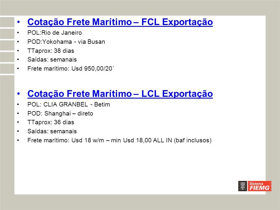 Cotação Frete Marítimo – FCL Exportação