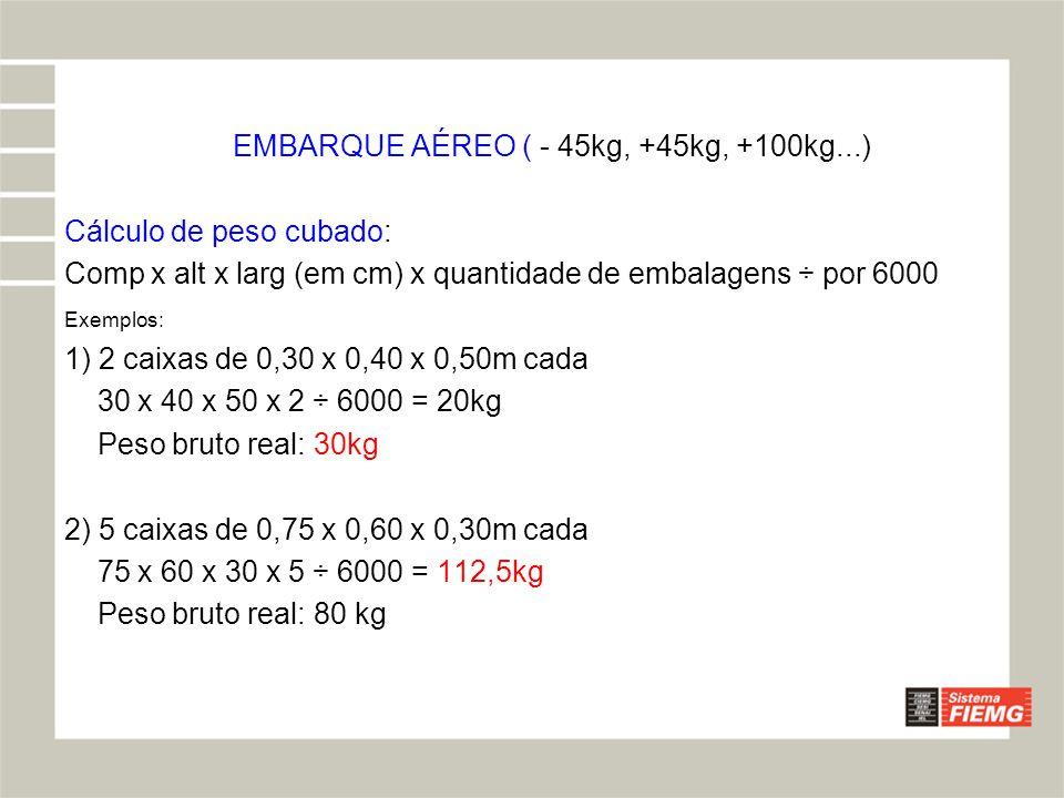 EMBARQUE AÉREO ( - 45kg, +45kg, +100kg...)