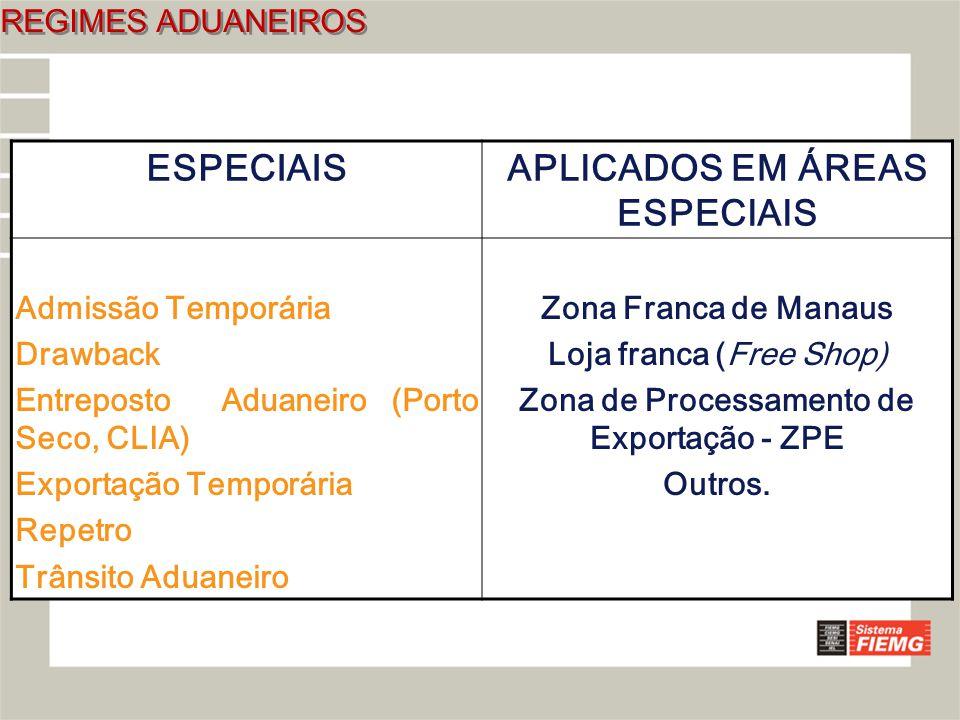 APLICADOS EM ÁREAS ESPECIAIS Zona de Processamento de Exportação - ZPE