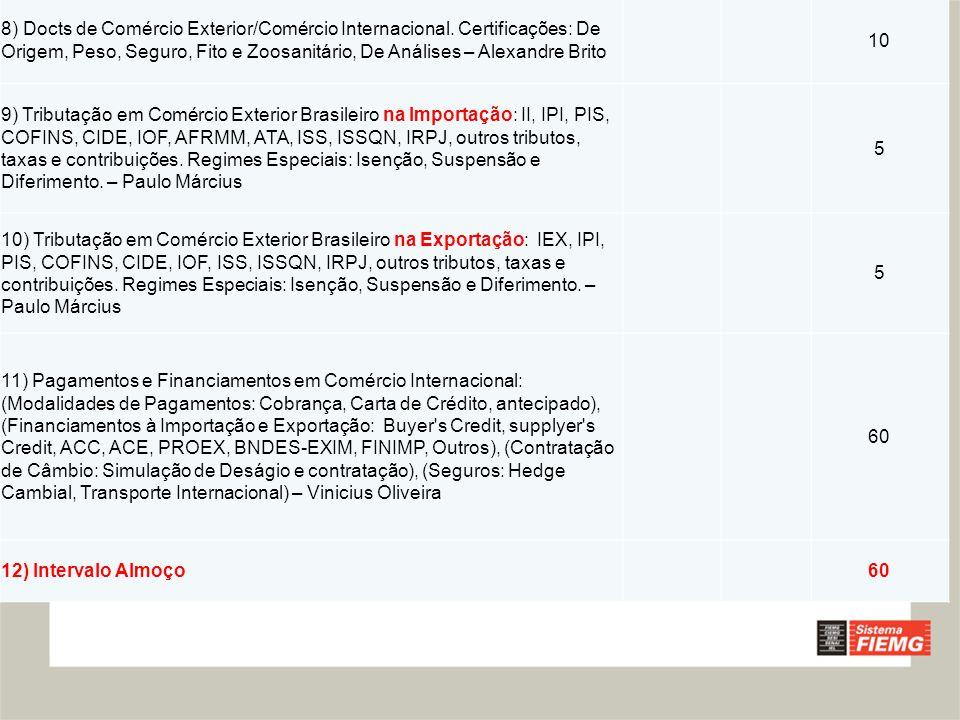 8) Docts de Comércio Exterior/Comércio Internacional