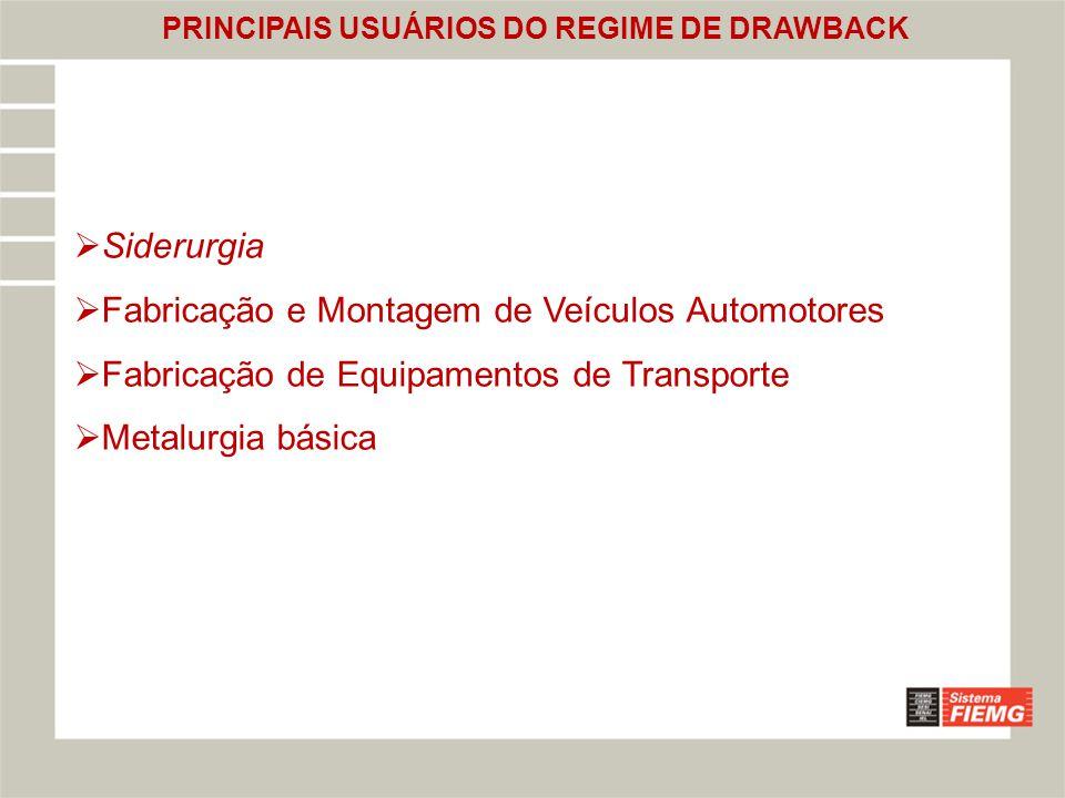 PRINCIPAIS USUÁRIOS DO REGIME DE DRAWBACK
