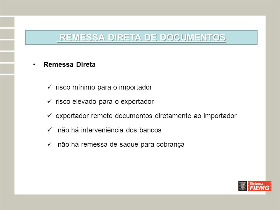 REMESSA DIRETA DE DOCUMENTOS