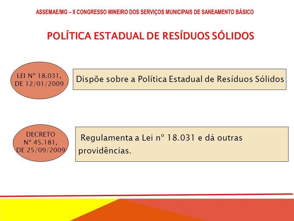 POLÍTICA ESTADUAL DE RESÍDUOS SÓLIDOS
