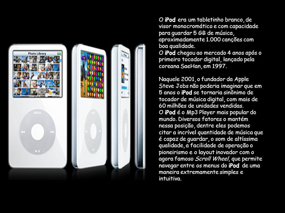 O iPod era um tabletinho branco, de visor monocromático e com capacidade para guardar 5 GB de música, aproximadamente 1.000 canções com boa qualidade.