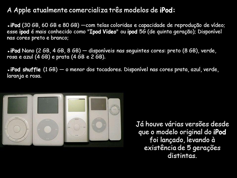 A Apple atualmente comercializa três modelos de iPod: