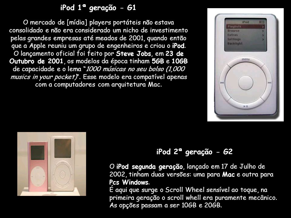 iPod 1ª geração - G1 iPod 2ª geração - G2