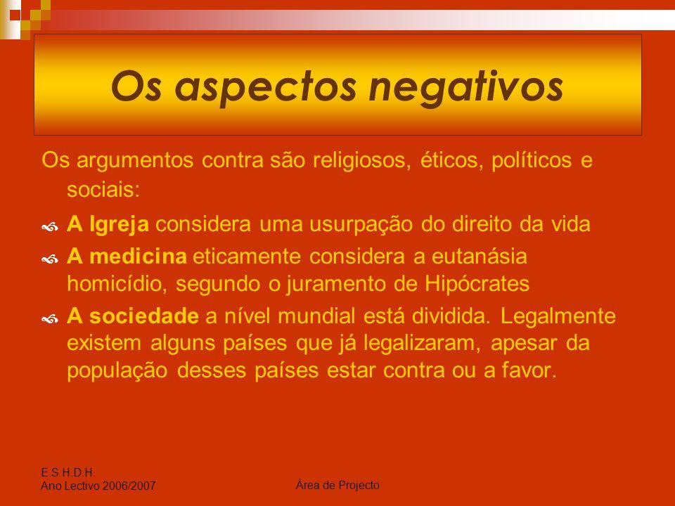 Os aspectos negativos Os argumentos contra são religiosos, éticos, políticos e sociais: A Igreja considera uma usurpação do direito da vida.