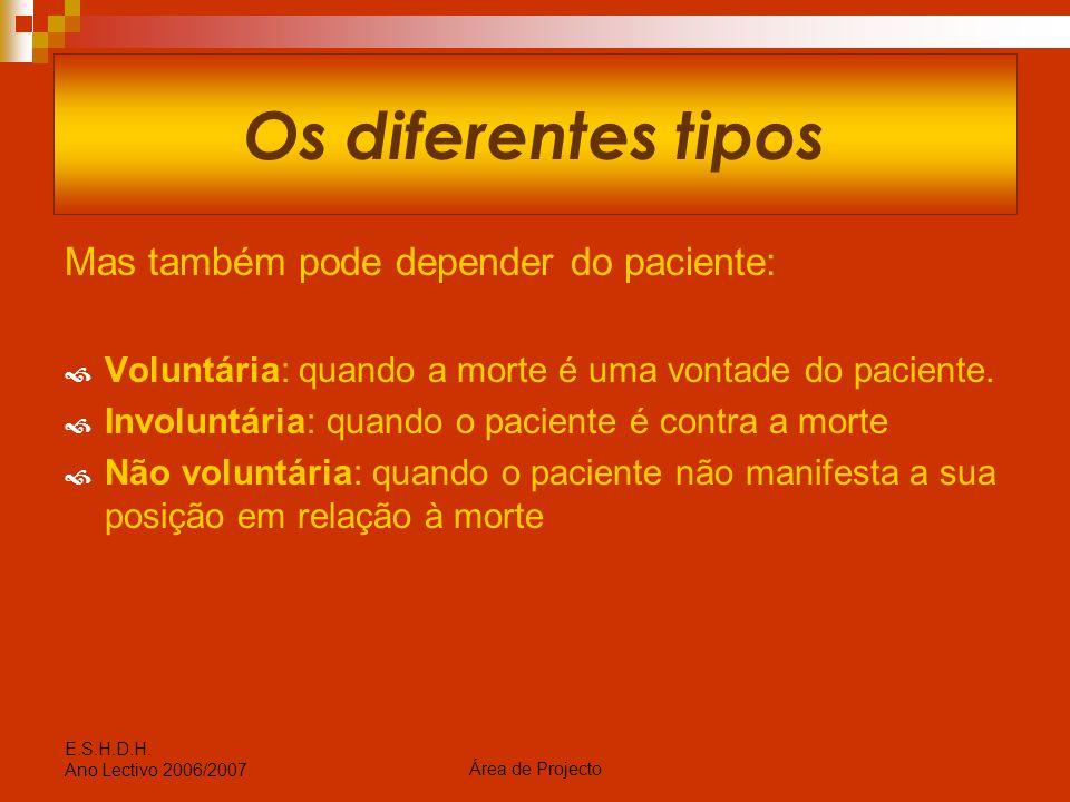 Os diferentes tipos Mas também pode depender do paciente: