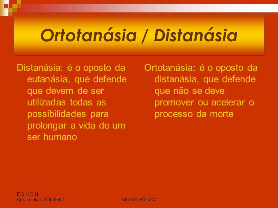Ortotanásia / Distanásia