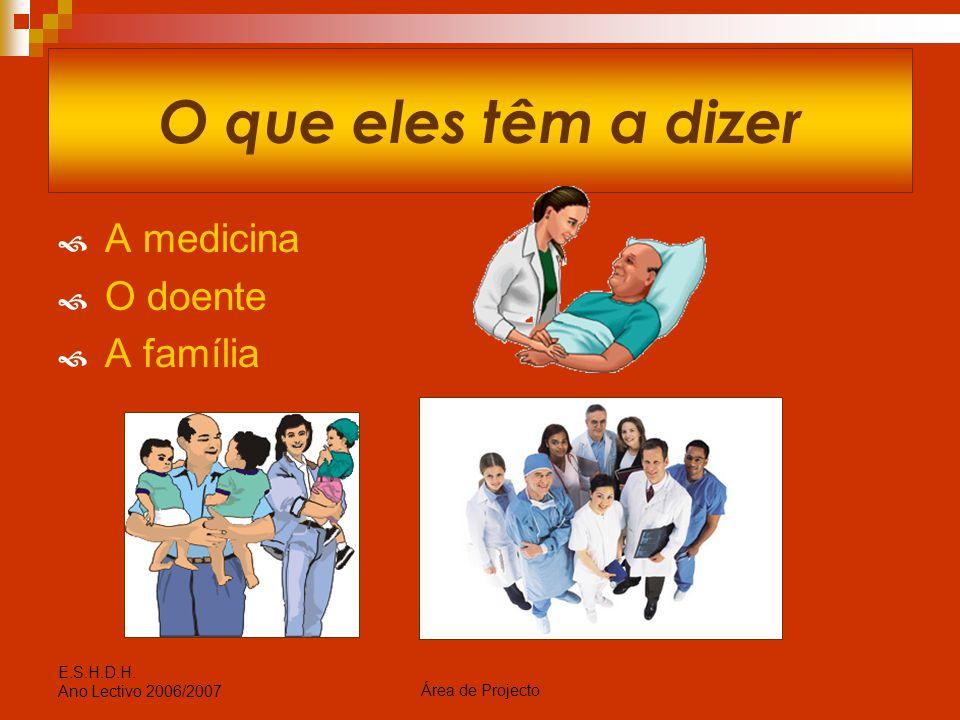 O que eles têm a dizer A medicina O doente A família