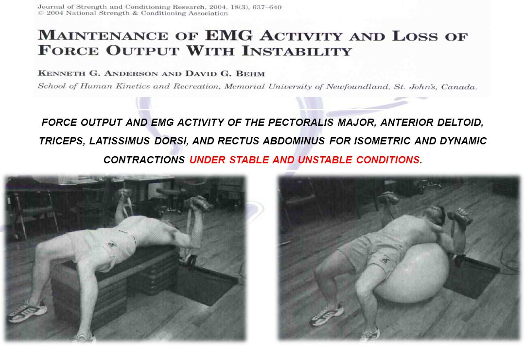 FORCE OUTPUT AND EMG ACTIVITY OF THE PECTORALIS MAJOR, ANTERIOR DELTOID, TRICEPS, LATISSIMUS DORSI, AND RECTUS ABDOMINUS FOR ISOMETRIC AND DYNAMIC CONTRACTIONS UNDER STABLE AND UNSTABLE CONDITIONS.