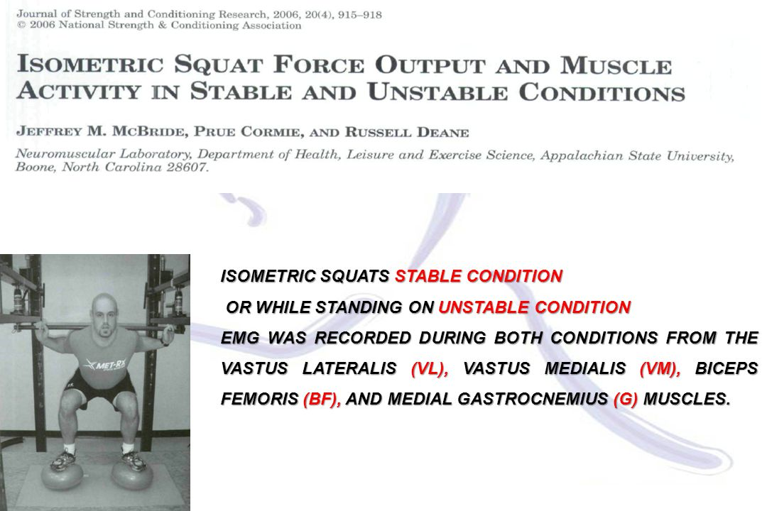 ISOMETRIC SQUATS STABLE CONDITION