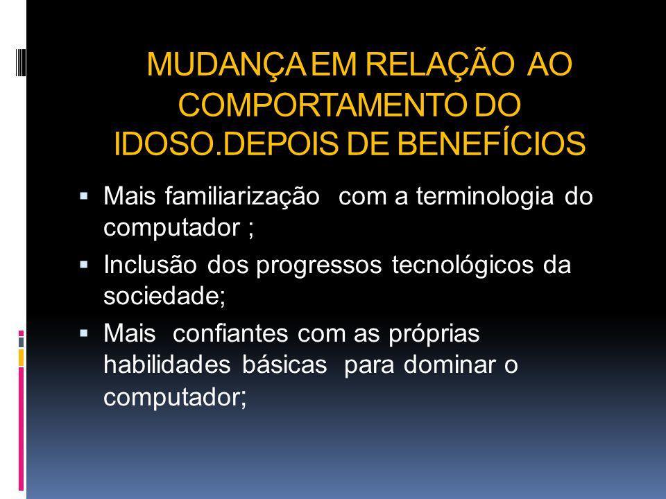 MUDANÇA EM RELAÇÃO AO COMPORTAMENTO DO IDOSO.DEPOIS DE BENEFÍCIOS