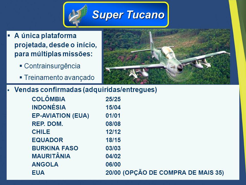 Super Tucano A única plataforma projetada, desde o início, para múltiplas missões: Contrainsurgência.