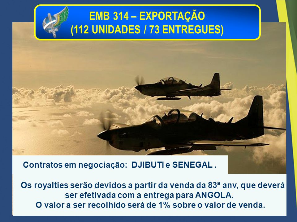 EMB 314 – EXPORTAÇÃO (112 UNIDADES / 73 ENTREGUES)