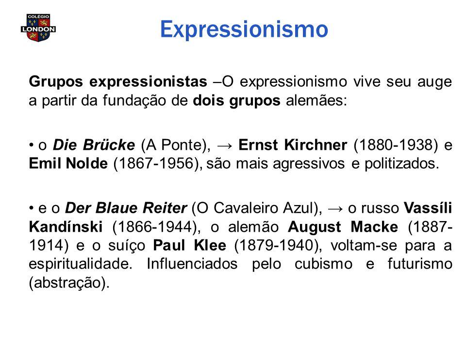 Expressionismo Grupos expressionistas –O expressionismo vive seu auge a partir da fundação de dois grupos alemães: