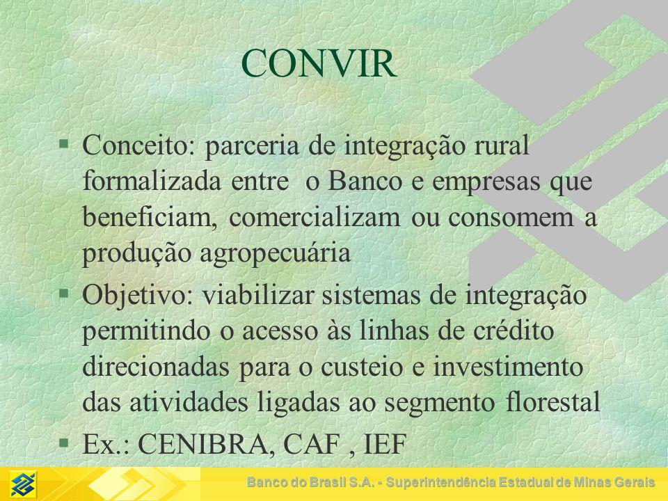 CONVIR Conceito: parceria de integração rural formalizada entre o Banco e empresas que beneficiam, comercializam ou consomem a produção agropecuária.